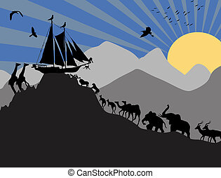 Noahs Ark and each pair of creatures backgound, vector...