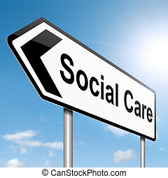 Social care concept. - Illustration depicting a roadsign...