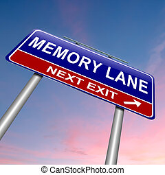 Memory lane concept. - Illustration depicting a roadsign...