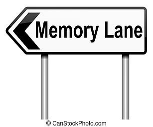Memory lane concept - Illustration depicting a roadsign with...