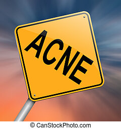 Acne concept. - Illustration depicting a roadsign with an...