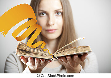 Woman with book - Young woman with old book