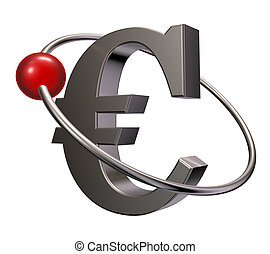 euro orbit - red sphere fly around metal euro symbol - 3d...