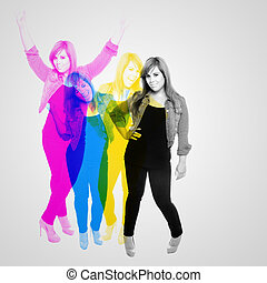 Cool Girl CMYK Abstract - Mid 20s woman posing in a variety...