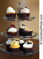 Cupcakes Party Tray - Tiered party serving tray with some...