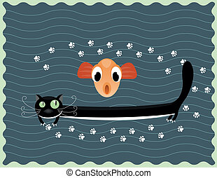 happy cat with fish - Illustration of happy black cat with...