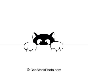 black cat - black smal cat is afraid of punishment