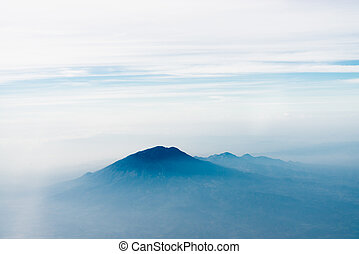 Volcano top under sky, bird's eye view. Java island,...
