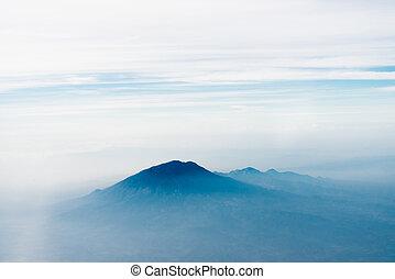 Volcano top under sky, bird's eye view. Java island,...