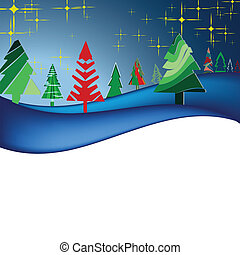 Christmas landscape with colorful trees