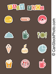 fast food icons - cute fast food icons over brown...