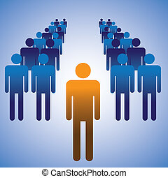 Concept illustration of employees and manager. The graphic manager of a corporate office as a human icon in orange color and his employees as blue colored icon