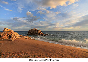Sant Pol de mar beach in Maresme, Barcelona, Spain - Sant...