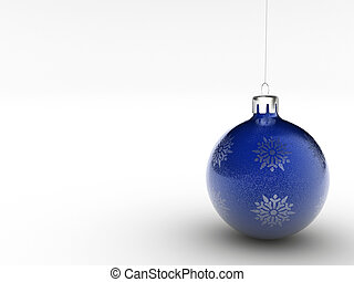 Christmas onament 6 - Christmas blue ornament on white...