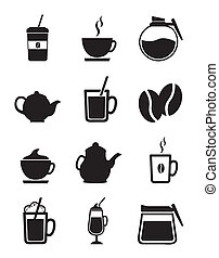 coffee icons isolated over white background vector