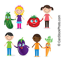 children and vegetables - happy group children and...