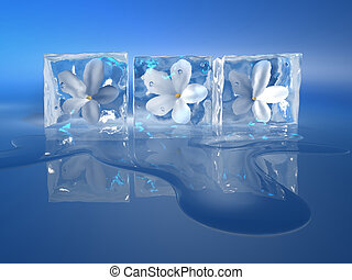Iced flowers - Three ice cubes with a flowers inside - 3d...