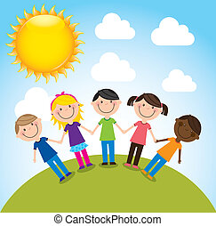 children - happy group children, team vector illustration