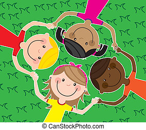 children - happy group children, team. vector illustration