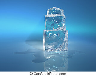 Ice cube 4 - A stack of ice cubes and water stain - 3d...