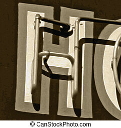 Painting of the letters H - Painting of the letter H in neon...