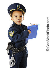 Speeding, Sir - An adorable preschool policeman in uniform,...