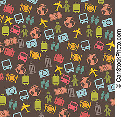 travel icons - cute travel business icons over brown...