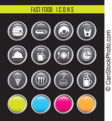 fast food icons - white fast food icons over black...