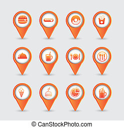 fast food icons - orange fast food icons over white...