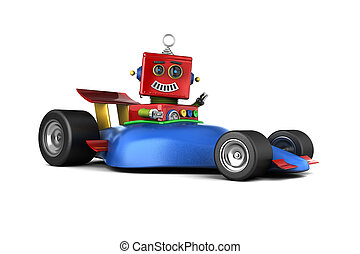 Toy robot in race car