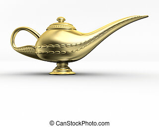 Aladin lamp 1 - A golden Aladdin lamp - rendered in 3d