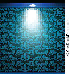 Lighted blue seamless wall with lamp. Vector