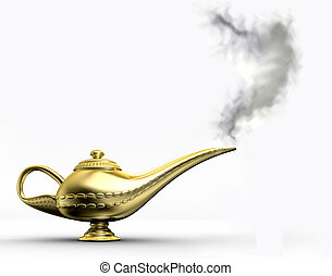 Aladin lamp 1 - A golden Aladdin lamp on white background -...
