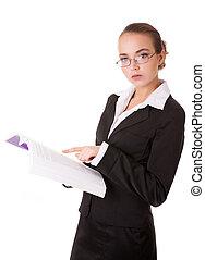 Teacher woman in business suit with book isolated on white...