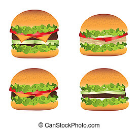 burger vector - burger with meat over vintage background...