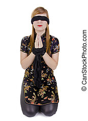 Woman hands tied up and blindfolded - Woman in japanese...