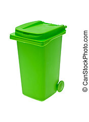 Green bin - Green bin for recycling isolated on white...