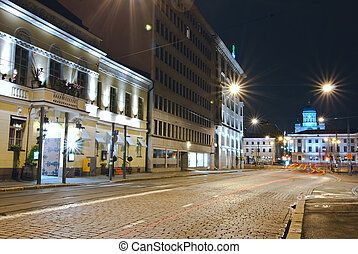 Helsinki night. - Night photos of Helsinki. Finland. Shot on...