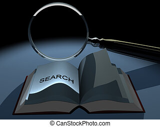 Magnifier 8 - Conceptual magnifying glass and a book - 3d...