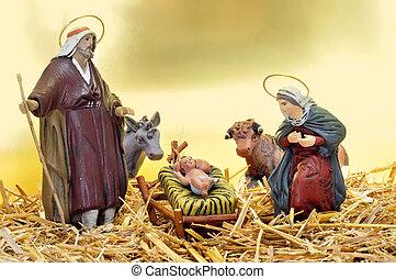 nativity scene - figures representing nativity scene in the...