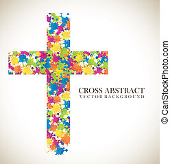 cross abstract - colorful cross abstract over vintage...