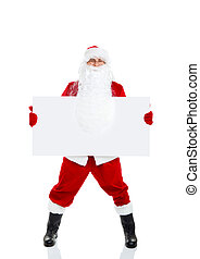 Santa Claus holding Banner, white board with blank empty...