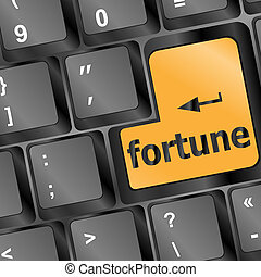 Foortune for investment concept with a orange button on computer keyboard