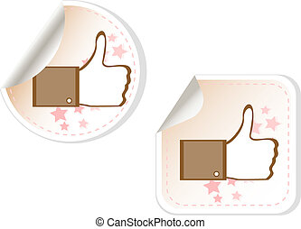 Thumbs up button - like button stickers set