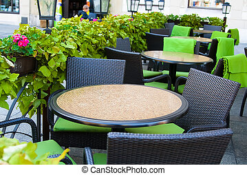Tables in a summer cafe - Tables in the summer cafe in the...