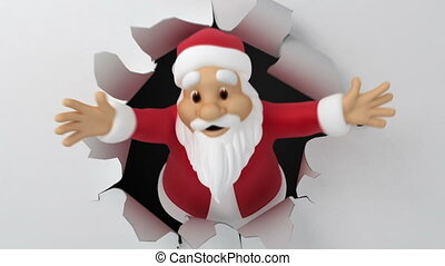 Santa tears the paper, 3d animation with alpha-matte