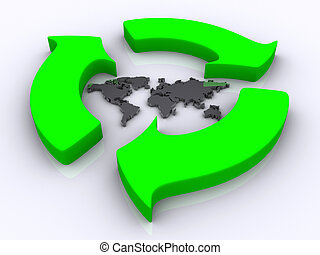 Recycle 2 - Illustration of green recycle symbol surrounding...
