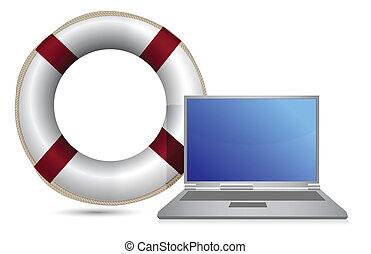 sos lifesaver laptop illustration design over white