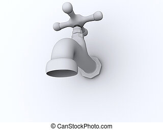 Faucet - A conceptual white faucet - rendered in 3d