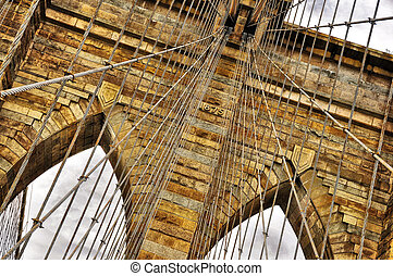 Brooklyn bridge detail, New York, USA - Brooklyn bridge...